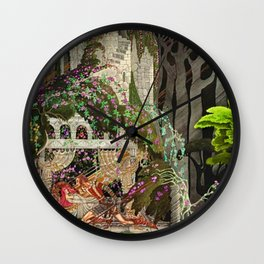 The Prince Looks down on Sleeping Beauty in the Garden of Delights by Kay Nielsen Wall Clock