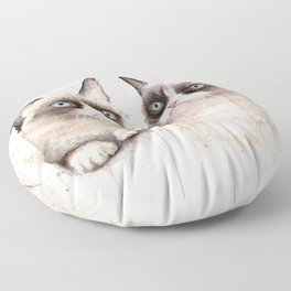 Grumpy Watercolor Cats Floor Pillow