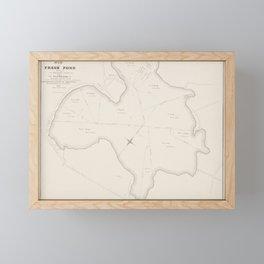 Vintage Map Print - Map of Fresh Pond, Cambridge, Massachusetts (1841) Framed Mini Art Print
