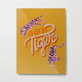 Go Get 'Em Tiger – Yellow Palette Metal Print