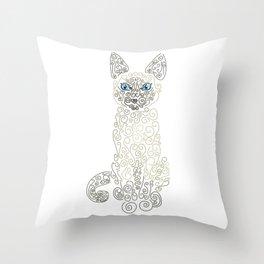 Swirly Siamese Cat Throw Pillow
