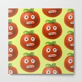 Funny Cartoon Tomato Pattern Metal Print