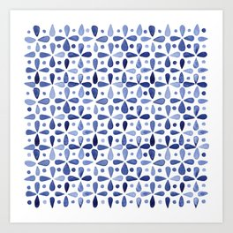 Imperfect Geometry Blue Petal Grid Art Print