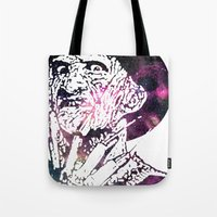 freddy krueger Tote Bags featuring Galaxy Robert Englund Freddy Krueger by Cookie Cutter Cat Lady