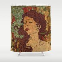 nouveau Shower Curtains featuring Nouveau Bliss by Faryn Hughes