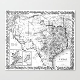 Vintage Map of Texas (1856) BW Canvas Print