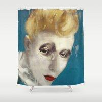 cassandra jean Shower Curtains featuring Selfish Jean by Sarah Jarrett Art