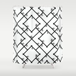 Bamboo Chinoiserie Lattice in White + Black Shower Curtain
