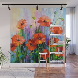 Blooming poppies Wall Mural