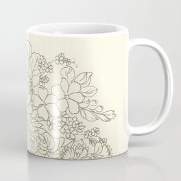 flowers and leaves on a yellow background Coffee Mug
