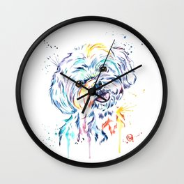 Havanese Colorful Watercolor Pet Portrait Painting Wall Clock
