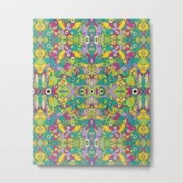 Odd creatures having fun by multiplying in a seamless pattern design Metal Print