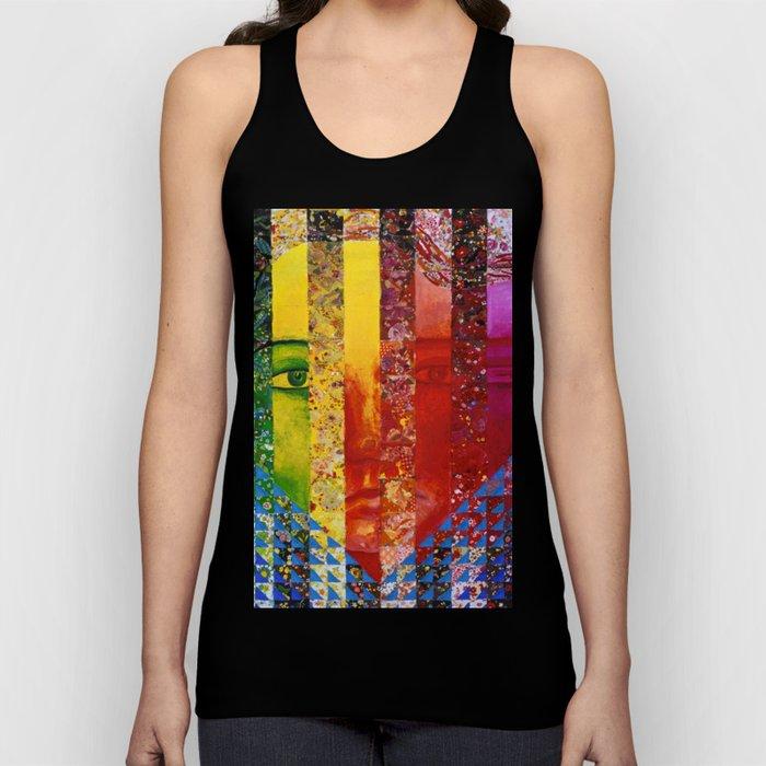 Conundrum I - Abstract Rainbow Goddess Unisex Tank Top
