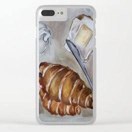 French breakfast, coffee and croissant, original oil painting, daily traditional art Clear iPhone Case