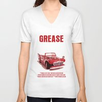 grease V-neck T-shirts featuring Grease Movie Poster by FunnyFaceArt