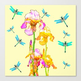GOLDEN PURPLE IRIS & BLUE DRAGONFLIES Canvas Print