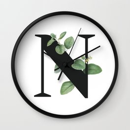 Letter N Initial Floral Monogram Black And White Poster Wall Clock