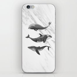 Ocean Whales Marble Black and White iPhone Skin