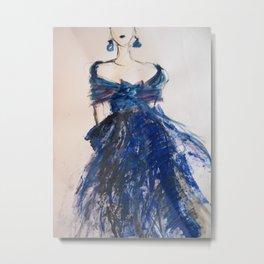 Blue Silk Dress With Bow Metal Print