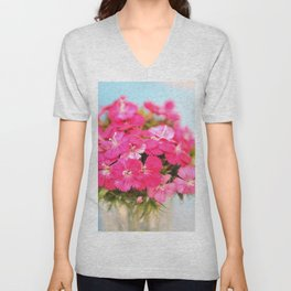 A Pink Kiss - Glowing Flowers #1 #decor #art #society6 Unisex V-Neck