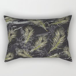 Gold Feathers vs. Black Marble Rectangular Pillow