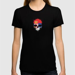 Flag of Serbia on a Chaotic Splatter Skull T-shirt