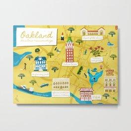Illustrated Map of Oakland California Metal Print