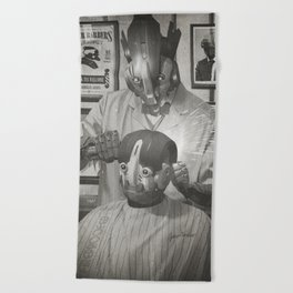 Cyber Barber Beach Towel