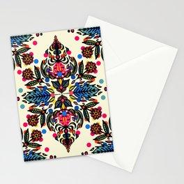 Bright Folk Art Pattern - hot pink, orange, blue & green Stationery Cards