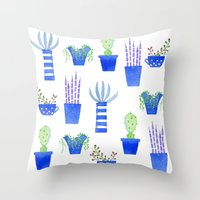 succulents Throw Pillows featuring Succulents by Nic Squirrell