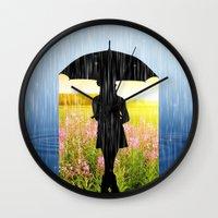 umbrella Wall Clocks featuring Umbrella by Cs025