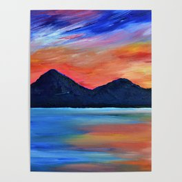SUNSET AT MURLOUGH - Abstract Sky Oil Painting Poster