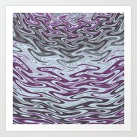 Ripples Fractal in Muted Plums Art Print