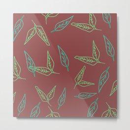 Leafy: Burgundy Metal Print