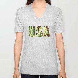 USA khaki camouflage sign Unisex V-Neck