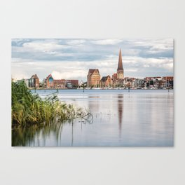 View over the river Warnow to Rostock Canvas Print