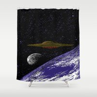 ufo Shower Curtains featuring UFO by noirlac