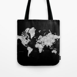 Black and grey watercolor world map with cities Tote Bag