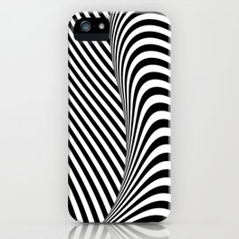 Black and White Pop Art Optical Illusion Lines iPhone Case