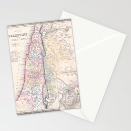 Old 1864 Historic State of Palestine Map Stationery Cards