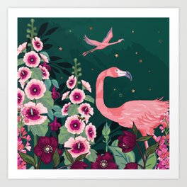 Flamingos and Hollyhocks Art Print