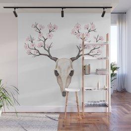 Blooming deer skull Wall Mural