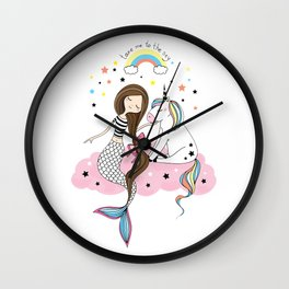 Mermaid & Unicorn White background Wall Clock