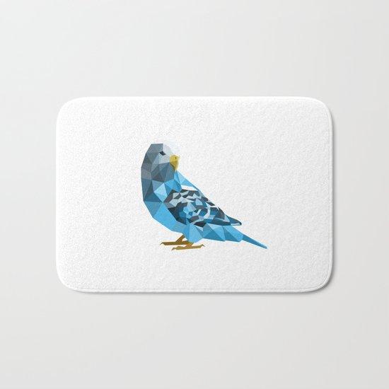 Geometric blue parakeet Bath Mat