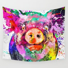Pig Watercolor Grunge Wall Tapestry