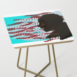 Black woman with braids floral Side Table