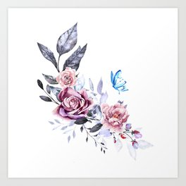 flower with butterfly Art Print