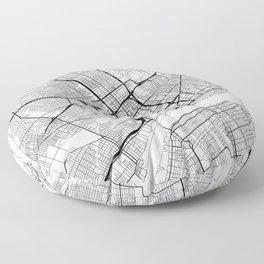Detroit Map White Floor Pillow