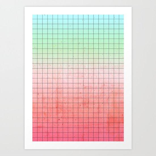 Watermelon Geometry Art Print