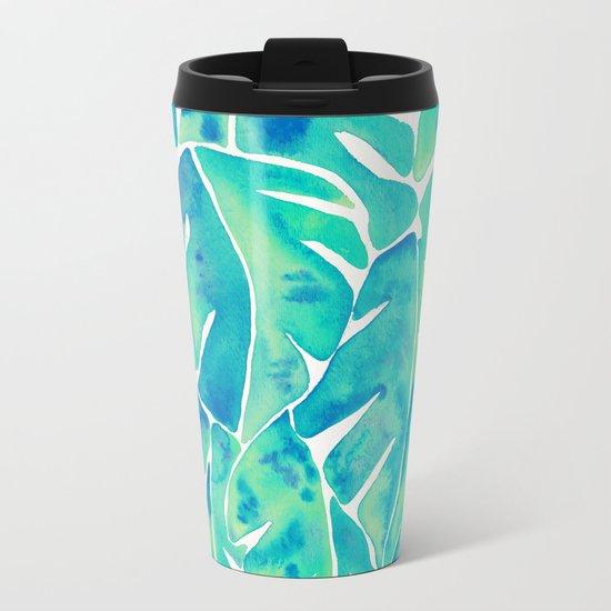 Split Leaf Philodendron – Turquoise Metal Travel Mug